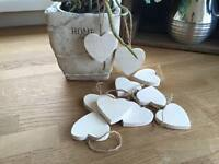 Set 10 Christmas Tree  Decorations Hanging White Chunky Wooden Hearts  or Stars