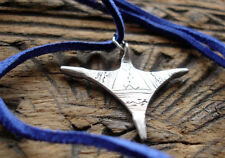 Niger silver Tuareg cross small hand engraved pendant with blue tie
