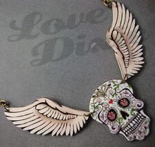 Sugar Skull Day of the Dead Wings Tattoo Necklace Kitsch Rockabilly Psychobilly