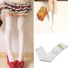 Fashion Women Plain Long Cotton Stockings Thinner Thigh High Over The Knee Socks