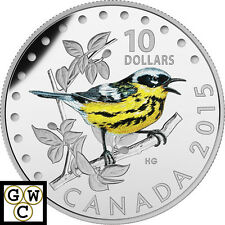 2015 'Magnolia Warbler ' Proof $10 Silver Coin 1/2oz .9999 (17294)