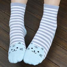 Women Cute 3D Cartoon Animals Striped Socks Cat Footprints Cotton Socks Floor W