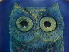 """9+"""" SIGNED A. LIST MEXICO MODERN ENAMEL COPPER ART BOWL MIDCENTURY OWL PAINTING"""