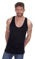 Mens Plain 100% Cotton Muscle Back Vest Top ~ Gym, Bodybuilding, Racer Back