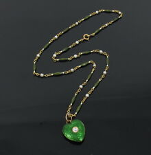 Antique 0.13ct European Cut Diamond Pearl Enamel Heart 18K Locket Necklace