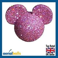 Pink Glitter Disney Mickey Mouse Car Aerial Ball Antenna Topper