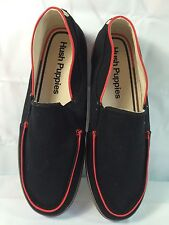 NEW Men's Hush Puppies Jase Black Red Canvas Slip On Shoe Sz. 10M
