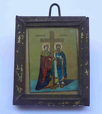 Saints CONSTANTINE HELEN Antique Greek Orthodox Icon on Wood Framed + Glass