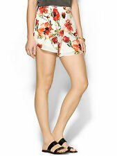 NWT Haute Hippie Floral High Waisted Shorts, Swan/coral multi SIZE 4
