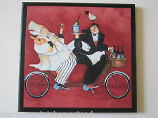 Chefs & Bicycle Built for Two plaque Kitchen Wall Decor Picture French Chef Red