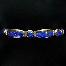 Lapis Lazuli &14k Gold Channel Inlay Link Bracelet