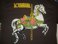 NEW Vintage LOUISIANA carousel horse tourist 90's double collar T Shirt Adult L