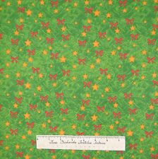 Christmas Fabric - Decorations Red Bow & Gold Star on Trees - AE Nathan YARD