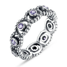 European 925 Sterling Silver LOVE Ring With Purple Clear Crystal Fit Women Party