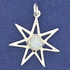 Elven Seven Star Moonstone 925 Silver Pendant~Fairy~Pleiadean~Magic~Jewellery