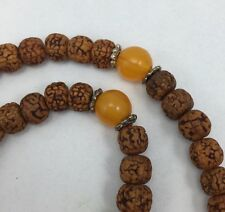 Pure Rudraksha Mala 108 beads Prayer Necklace. Brown With Amber Beads.