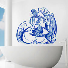 Mermaid Wall Decals Sea Decal Shower Vinyl Stickers Bathroom Home Decor  CC125