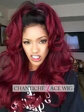 Hot Lace Front Wig Ombre Burgundy Synthetic Hair Long Natural Wavy Heat Friendly