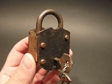 Antique Vintage Style Wrought Iron Trunk Chest Box Lock Key Padlock