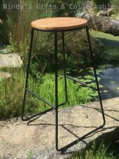 71cm Tall Industrial Stackable Bar Stool with Timber Top & Black Metal Legs
