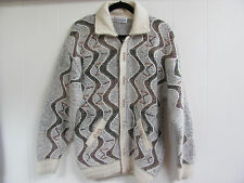 K Kalia Hotpoint Mohair /Wool Cardigan Sweater with Pockets Cream/Gray- Size 8