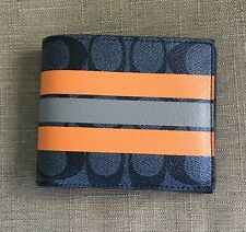 COACH MEN'S SIGNATURE STRIP COATED CANVAS AND LEATHER DOUBLE  BILFOLD WALLET