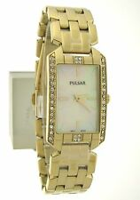 Pulsar Night Out Gold-Tone Mother of Pearl Swarovski Crystal Lady's Watch PRW006