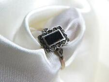 delicate ART DECO onyc PASTE set ring ~ old ~ SILVER Gold Shank ~