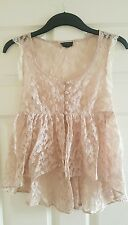 Topshop Nude Lace Top Blouse Size 8
