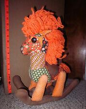 ROCKING HORSE psychedelic vtg plush doll patchwork toy 1960s yarn hair OG