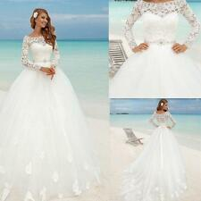 Custom New Long Sleeve Lace Wedding Dress Bridal Gown Size 4 6 8 10 12 14 16 18+