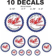 10 Round Pure Oil Firebird Racing Vinyl Decals