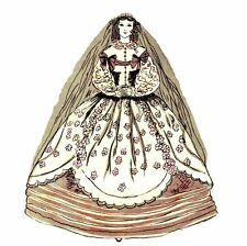 "1858 WEDDING GOWN Dress  PATTERN fits 11.5"" BARBIE doll Fashion  B8"