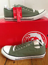 DIESEL STM-271-B MEN CANVAS LOW LACE UP SHOES TRAINERS  KHAKI UK 8 NEW IN BOX