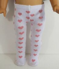 "WHITE TIGHTS / LEGGINGS WITH PINK HEARTS FOR 18"" AMERICAN GIRL DOLLS, CLOTHES"