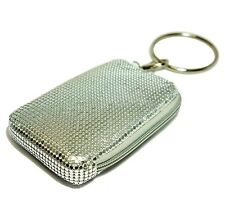 Mollaspace Tsubota Pearl Bling Bangle Pouch SILVER top zip for phone,MP3,wallet