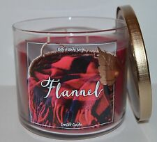 BATH & BODY WORKS FLANNEL SCENTED CANDLE 3 WICK 14.5 OZ LARGE BERGAMOT MAHOGANY