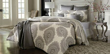 7 piece Grey Cream Geometric Floral Medallion Comforter Bedding Set Queen Size