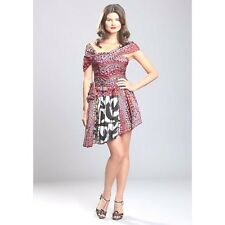 NWT MALANDRINO $1450 LUXURY silk cocktail social occasion dress Multi  42/8 USA