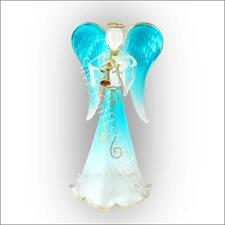 8.25 Inch High Collectible English Handmade Glass Blue Angel with Bugle