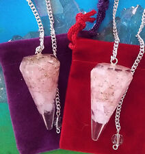 2 Large ORGONE DOWSING PENDULUMS ROSE QUARTZ WITH POUCHES, DIVINATION