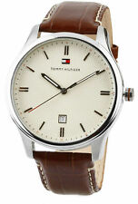 NIB Tommy Hilfiger 1710282 Quartz Beige Dial Date Brown Leather Men Watch