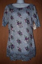 Womens Pretty Blue Floral Lace Accent Self Esteem Shirt Size Medium NWT NEW