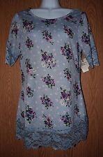 Womens Pretty Blue Floral Lace Accent Self Esteem Shirt Size Medium NWT NEW