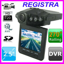 "TELECAMERA AUTO DVR VIDEOREGISTRATORE HD SD 2,5"" VIDEO CAMERA MOTO CAMPER"