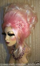 Drag Queen Wig Pale Cotton Candy Pink Roots White Tips Updo Gibson Curls