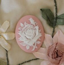~Vintage Single Rose Cameo~Acrylic 40X30mm Button~White on Dusty Rose~Stunning!
