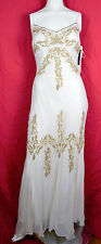 Adrianna Papell Old Hollywood Bead Chiffon Glamour Dress White Gold 6