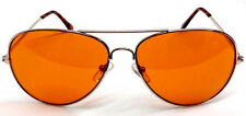 BLUE BLOCKER AMBER LENS AVIATOR SUNGLASSES DRIVING HD GOLD FRAME BLU BUSTER