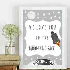 We Love You to The Moon and Back *Typography Poster Print* New Baby/Nursery*